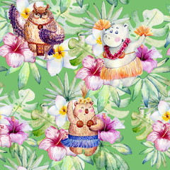 Hawaii dance, watercolor seamless pattern with animals and plants.