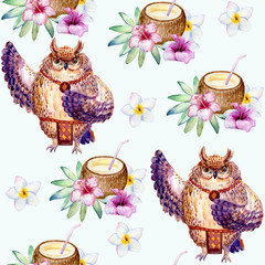 Hawaii dance, watercolor seamless pattern on white background.