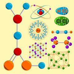 Molecular structure medical evolution life biotechnology microbiology formula vector illustration.