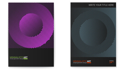 Set of posters with simple shape in bauhaus style. Cover design with modern geometric art. Modern digital art with halftone patterns. Memphis and hipster style graphic. Annual reports cover templates.
