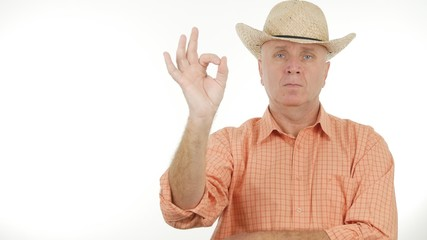 Serious Farmer Make OK Hand Gesture a Good Job Sign
