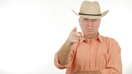 Farmer Pointing With Finger Indicate With a Hand Gesture