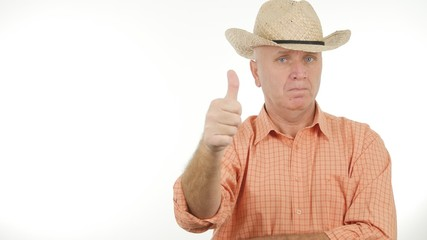 Confident Farmer Make a Good Job Sign Thumbs Up Gesture