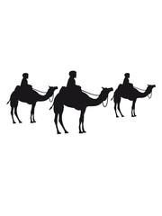 wettrennen reiten händler reise karawane 3 freunde team crew handel herde reihe kamel silhouette umriss schwarz dromedar höcker wüste zoo