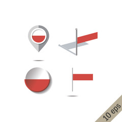 Map pins with flag of POLAND - vector illustration