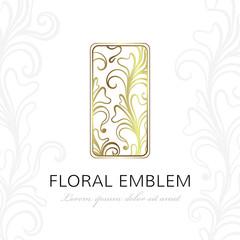Floral linear emblem. Vector elegant design element.