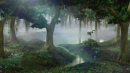 Photo sur Toile Taupe foggy fantasy forest with ponds
