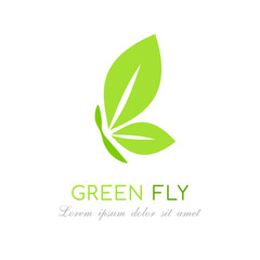 Green leaves logo. Butterfly emblem. Vector illustration.