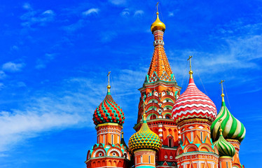 Foto op Aluminium Moskou View of St. Basil's cathedral on the Red Square in summer in Moscow, Russia.