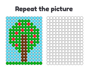 Game for preschool children. Repeat the picture. Paint the circles. tree with red apples