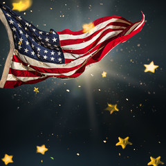 Wall Mural - American flag with gold shining stars.