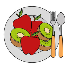 dish and cutlery with fruits menu vector illustration design