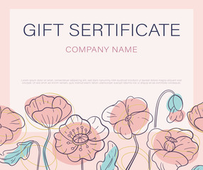 Design a gift certificate with a frame of decorative poppies. Flat style. Pastel colors. Vector. Horisontal
