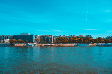 blue and cold colored picture of danube river at budapest