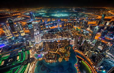 Dubai skyline during night with amazing city center lights and heavy road traffic,UAE.