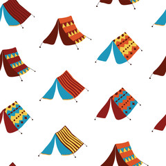 """Camping tents on a white background. Seamless vector pattern. Part of my """"Let's go glamping!"""" collection."""