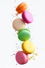 Photo sur Plexiglas Macarons Macaron Sweets. Colorful Macaroons Flying