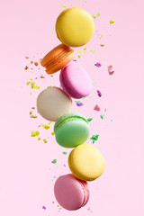 Photo sur Toile Macarons Macaron Dessert. Colorful Macaroons Flying