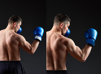 Handsome man boxer before and after retouch. Sport man back. Muscular man in boxing gloves in bixing rack on dark background.