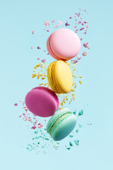 Self adhesive Wall Murals Macarons Macaron Dessert. Colorful Macaroons Flying