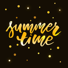 Summer time vector text lettering calligraphy letters black gold