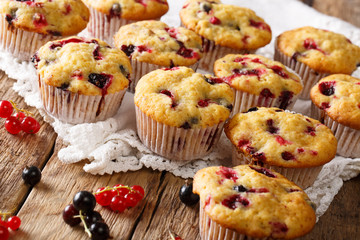 Delicious organic muffins with a berry mix close-up. horizontal