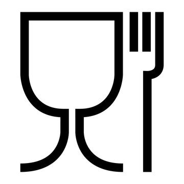 Food safe symbol. The international icon for food safe material are a wine glass and a fork symbol. Large version