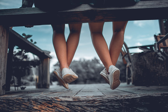 Two girls Sit down In the lonely days. And the love of two people.
