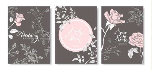 Wedding invitation cards with hand drawn roses.Floral poster, invite. Vector decorative greeting card,invitation design background.
