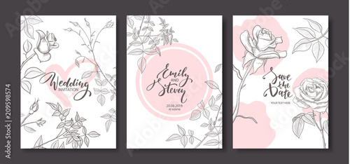 Wedding invitation cards with hand drawn rosesfloral poster invite wedding invitation cards with hand drawn rosesfloral poster invite vector decorative greeting stopboris Choice Image