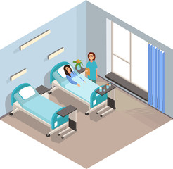 The patient is at the doctors reception. Vector illustration.