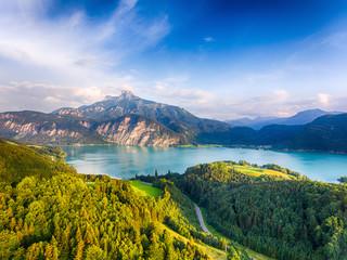 Schafberg and Lake Mondsee in Salzkammergut, Austria