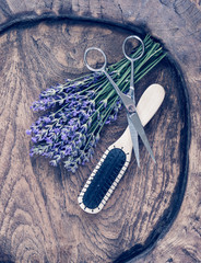 Scissors, brush and lavender. Vintage image.