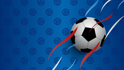 Realistic football on blue background, football world championship cup, abstract background, vector illustration
