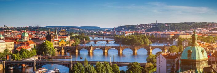 Foto op Plexiglas Praag Scenic spring sunset aerial view of the Old Town pier architecture and Charles Bridge over Vltava river in Prague, Czech Republic