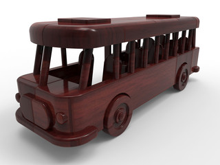3D concept - red wood bus