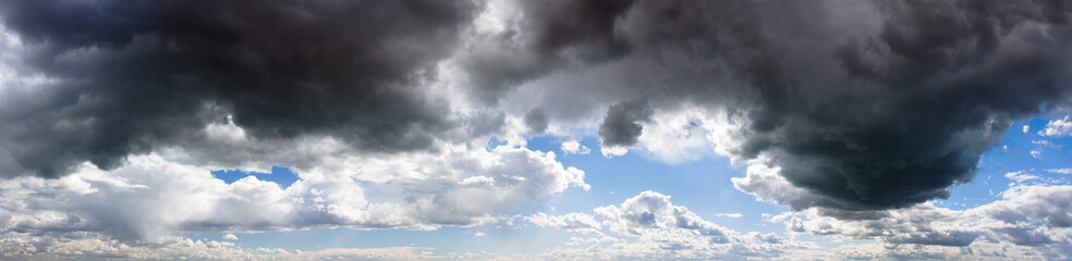 panorama from sky and dark storm clouds