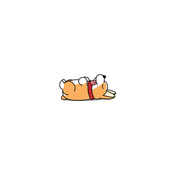 Lazy dog sleeping, cute welsh corgi puppy lying on back icon, vector illustration