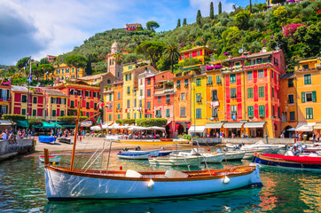 Beautiful bay with colorful houses in Portofino, Liguria, Italy