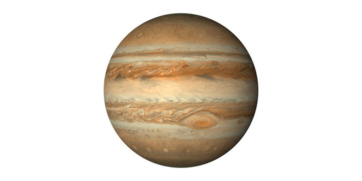 Planet jupiter in space white background