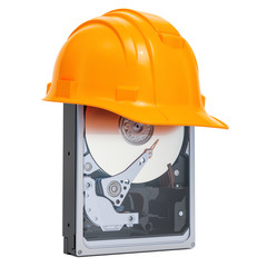 Hard Disk Drive HDD with hard hat , protection concept. 3D rendering