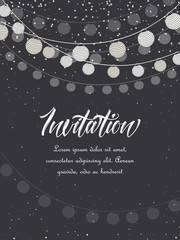 Vector illustration of trees with leaves and chain of lanterns. Invitation card, party celebration.