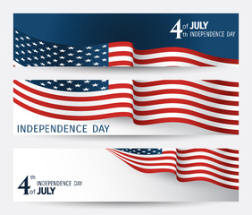 set of banner for Independence day of USA with fragments of flag close-up on a blue and white background