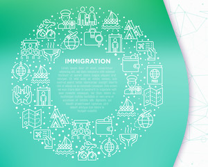 Immigration concept in circle with thin line icons: immigrants, illegals, baggage examination, passport, refugee camp, demonstration, humanitarian aid, social benefit. Modern vector illustration.