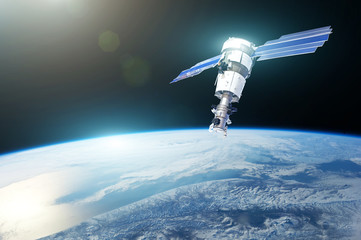 Research, probing, monitoring of in atmosphere. Communications satellite in orbit above the surface of the planet Earth. Elements of this image furnished by NASA.