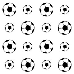 Seamless sport pattern. Football balls on the white background