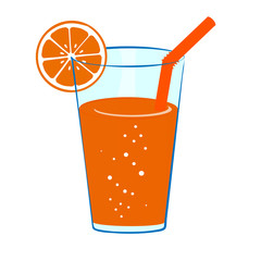 Glass cold of orange juice with orange slice and a straw. Vector illustration Icon of fresh tropical juice.