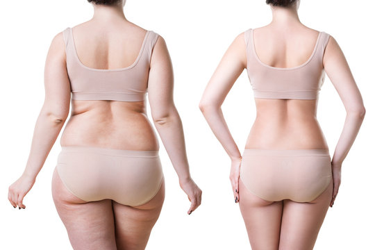 Woman's body before and after weight loss isolated on white background