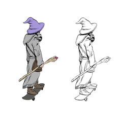 Wizard is riding on skateboard .Design fashion printing for clothes. Hand drawn sketch vector illustration.