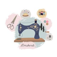 Sewing workshop or tailor shop. Hand drawn vintage sewing machine.